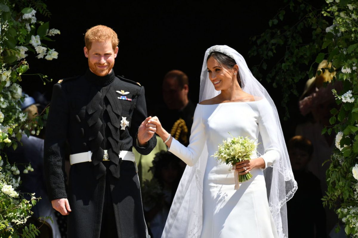Prince Harry and Meghan Markle come out the West Door of St George's Chapel, Windsor Castle after their wedding ceremony