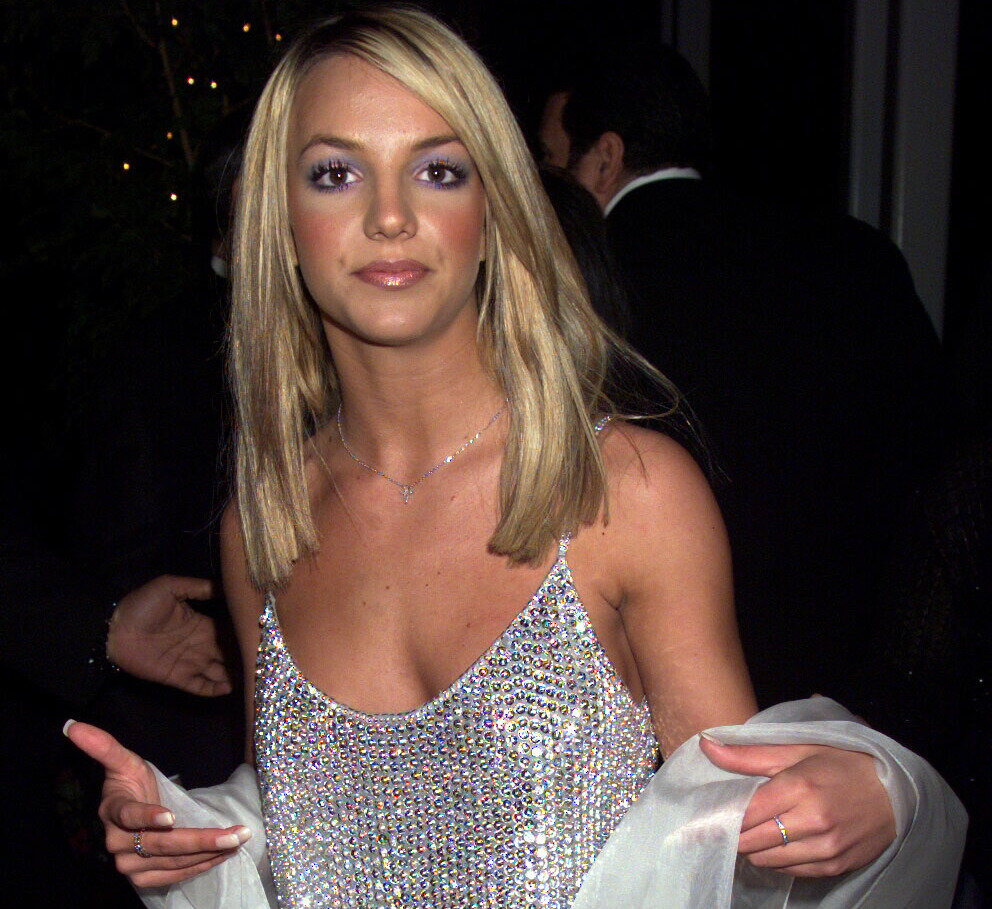 Britney Spears in a shiny silver top in 2000.
