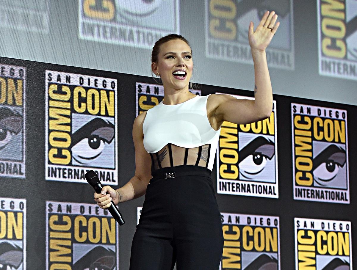 Scarlett Johansson of Marvel Studios' 'Black Widow' at the SDCC 2019 Marvel Studios Panel on July 20, 2019.