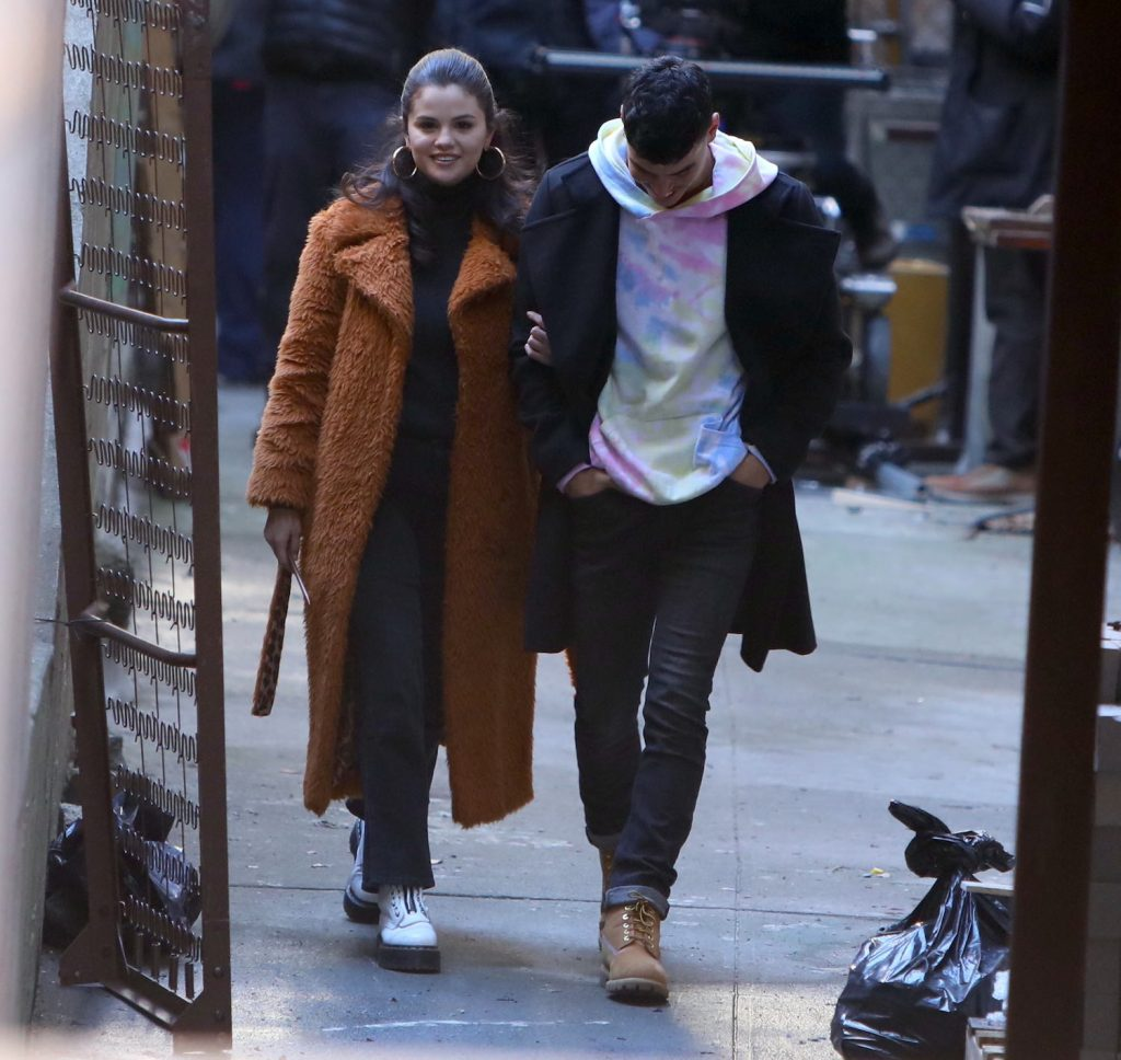 Selena Gomez and Aaron Dominguez on the set of 'Only Murders in the Building' on February 24, 2021 in New York City