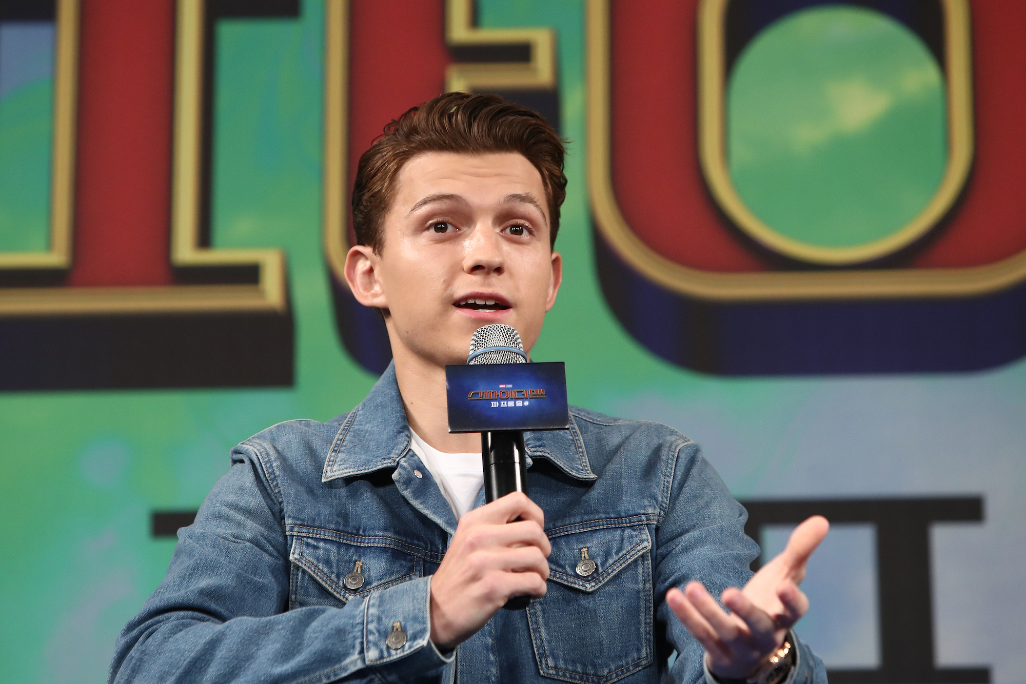 Tom Holland at the press conference for 'Spider-Man: Far From Home' on July 01, 2019