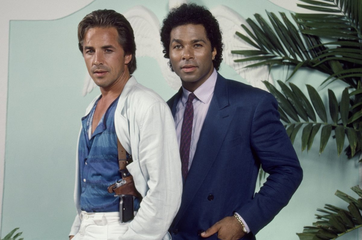 'Miami Vice' promo shot with DOn Johnson and Philip Michael Thomas, mid-'80s
