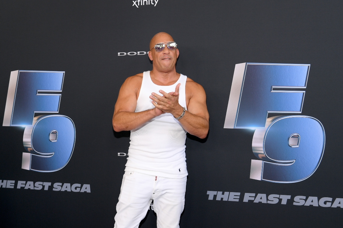 Vin Diesel claps as he poses for cameras at 'Fast and Furious 9' event in January 2020