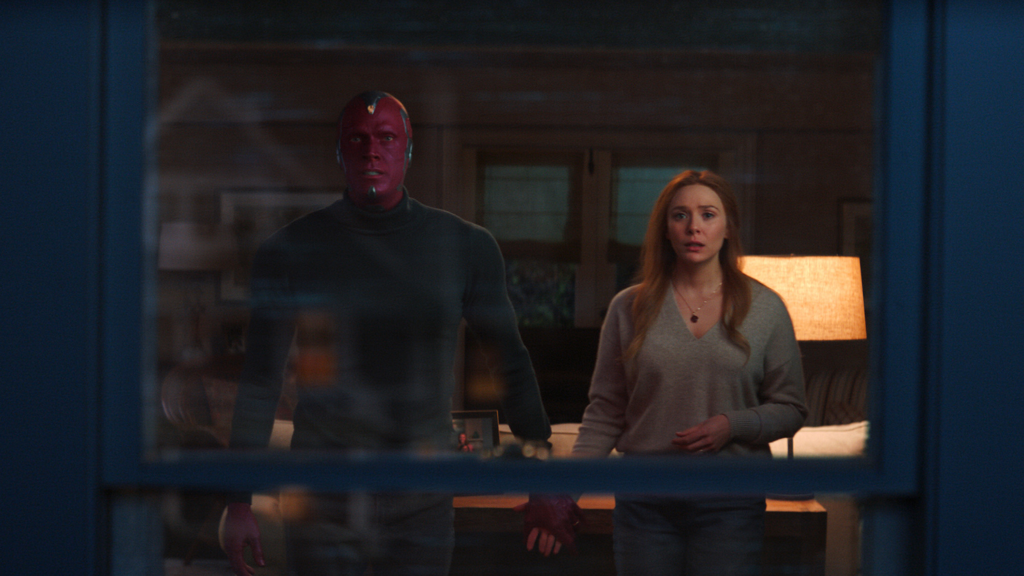 Vision (Paul Bettany) and Wanda Maximoff (Elizabeth Olsen) in the finale of 'WandaVision'