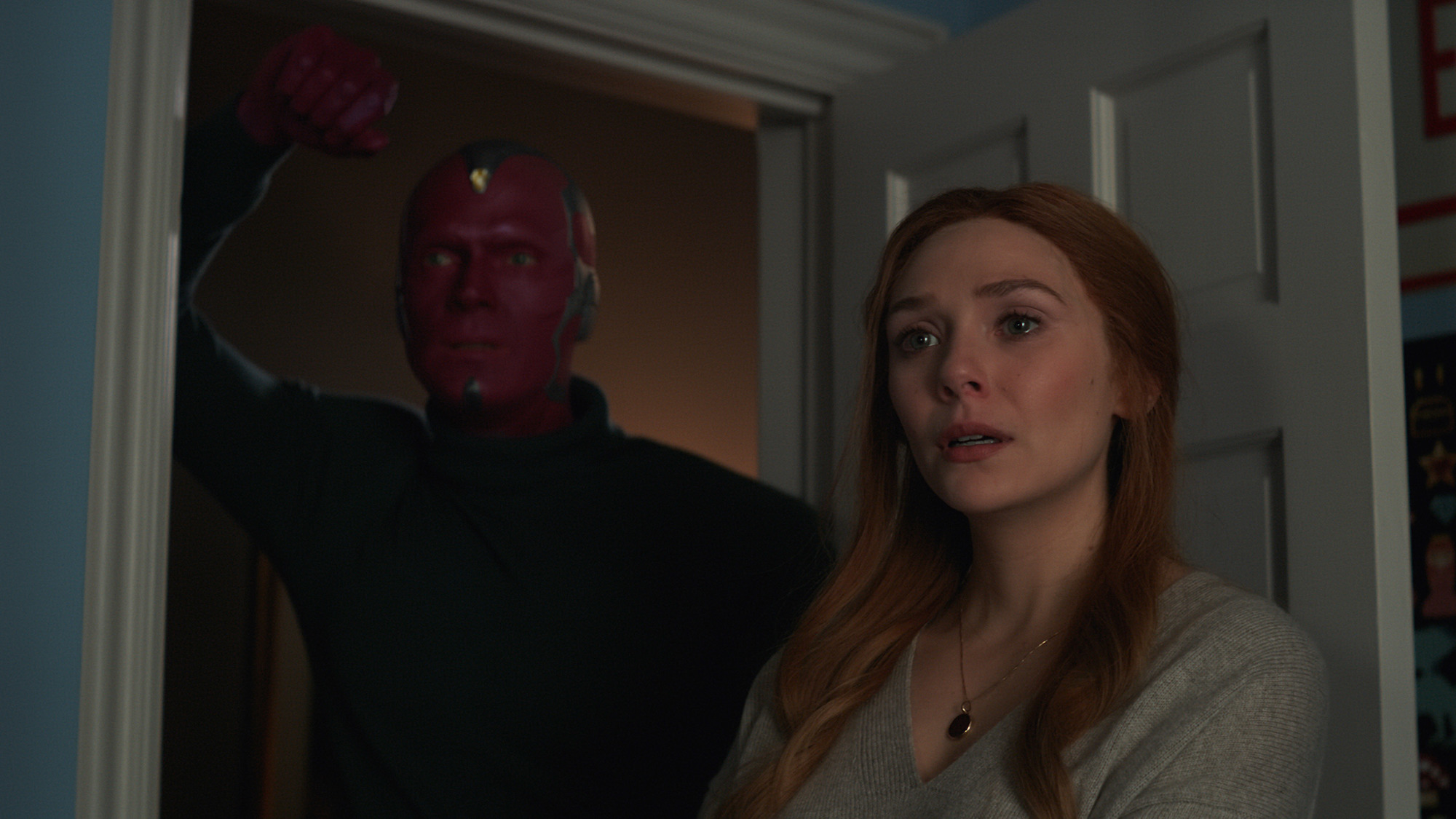 Vision (Bettany) and Wanda Maximoff (Olsen) in the finale of 'WandaVision'