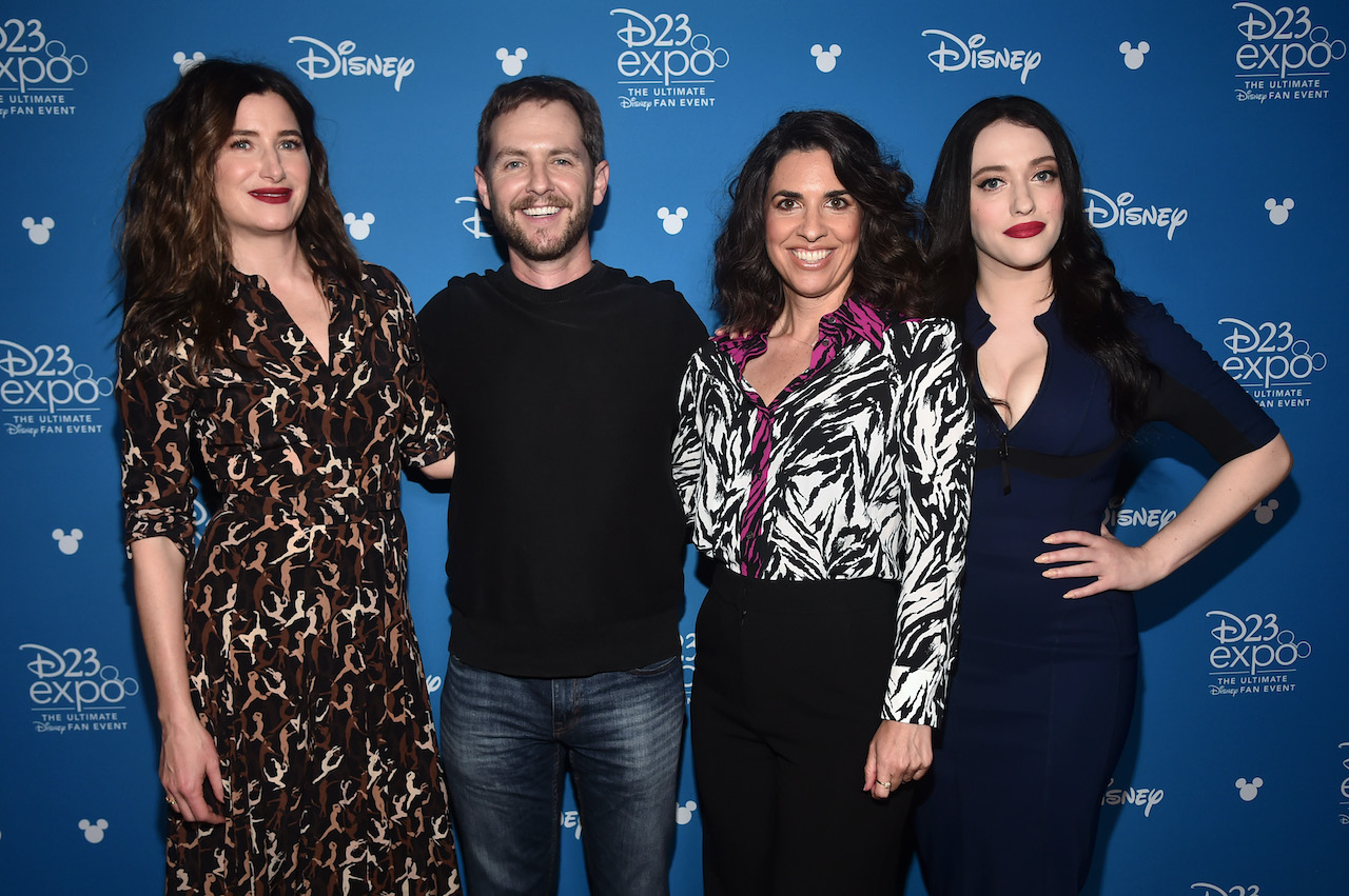 'Wandavision' director Matt Shakman, stands with Kathryn Hahn, head writer Jac Schaeffer, and Kat Dennings of 'WandaVision' at Disney's D23 EXPO 2019