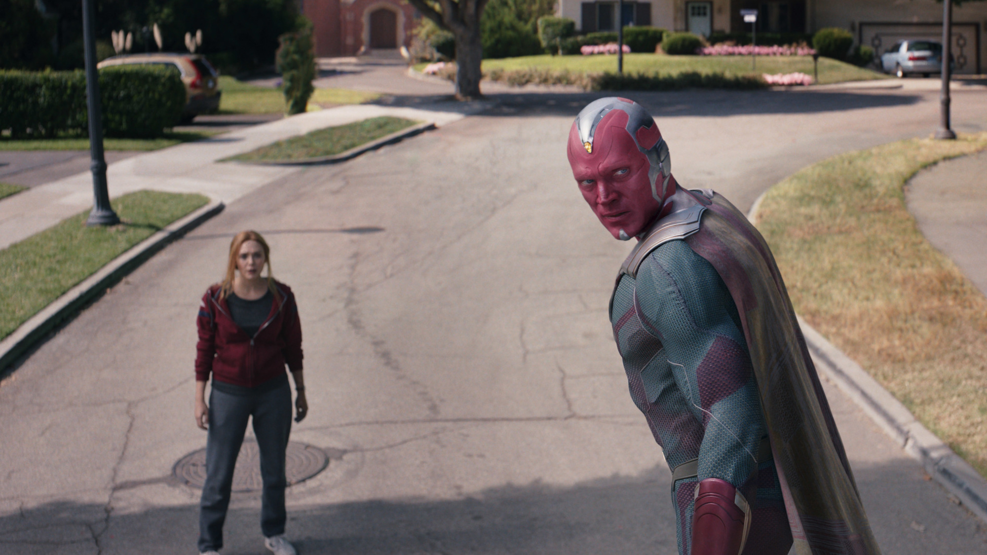 Elizabeth Olsen as Wanda Maximoff and Paul Bettany as Vision in the 'WandaVision' finale