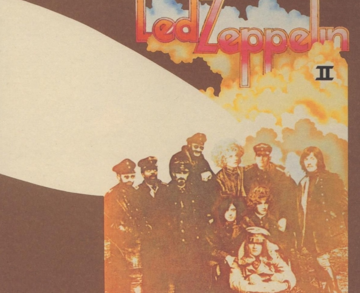 Detail of 'Led Zeppelin II' cover with World War I fighter pilots, band members, and other figures