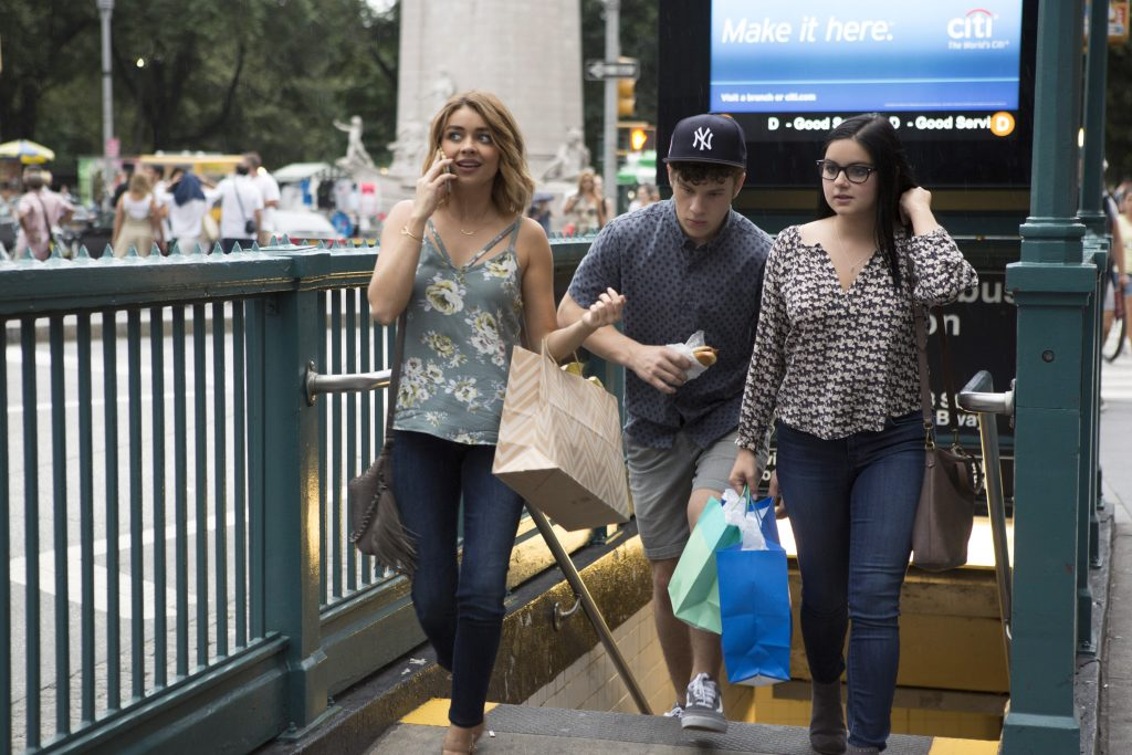 Characters Haley, Luke, and Alex Dunphy in 'Modern Family' episode titled 'A Tale of Three Cities'