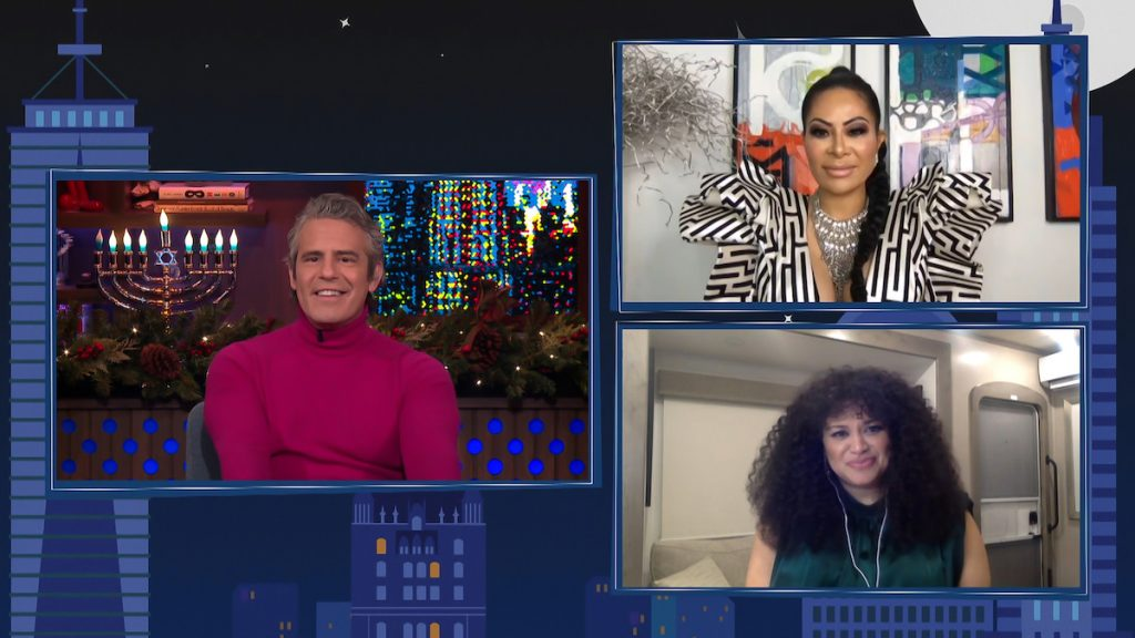 Andy Cohen, Jennifer Shah, and Michelle Buteau