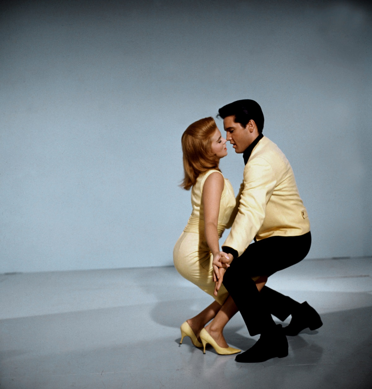 Ann-Margret and American singer, actor and icon Elvis Presley promoting the movie Viva Las Vegas, directed and produced by George Sidney. They are dancing in a promotional still.