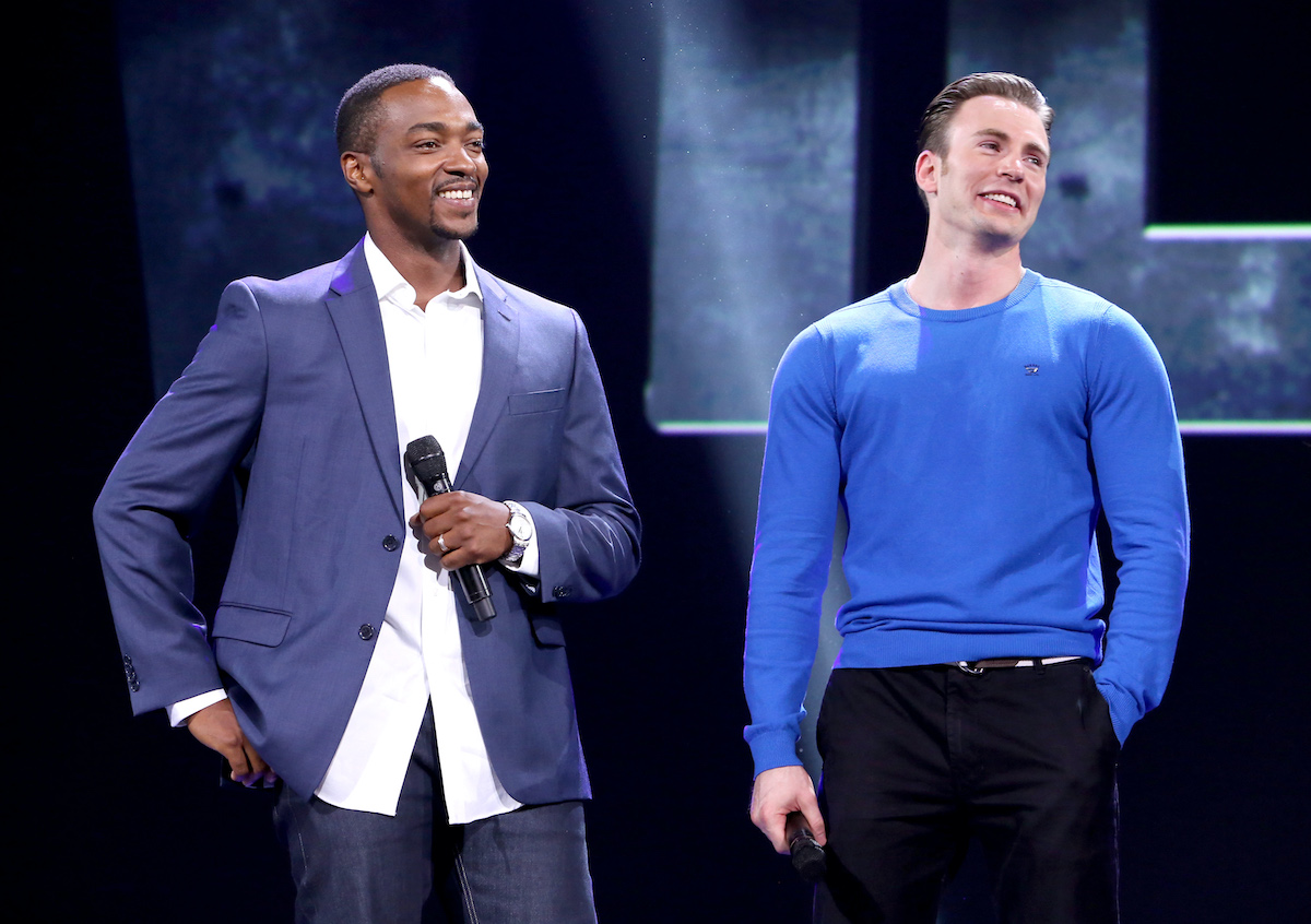 'Captain America: Civil War' stars Anthony Mackie and Chris Evans at Disney's D23 EXPO 2015 in Anaheim, Calif.