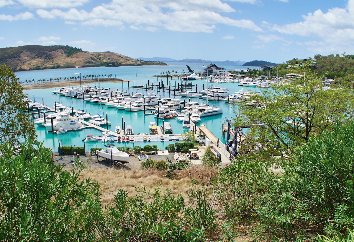 Marina for private yachts at Hamilton Island in Whitsunday Islands, Australia
