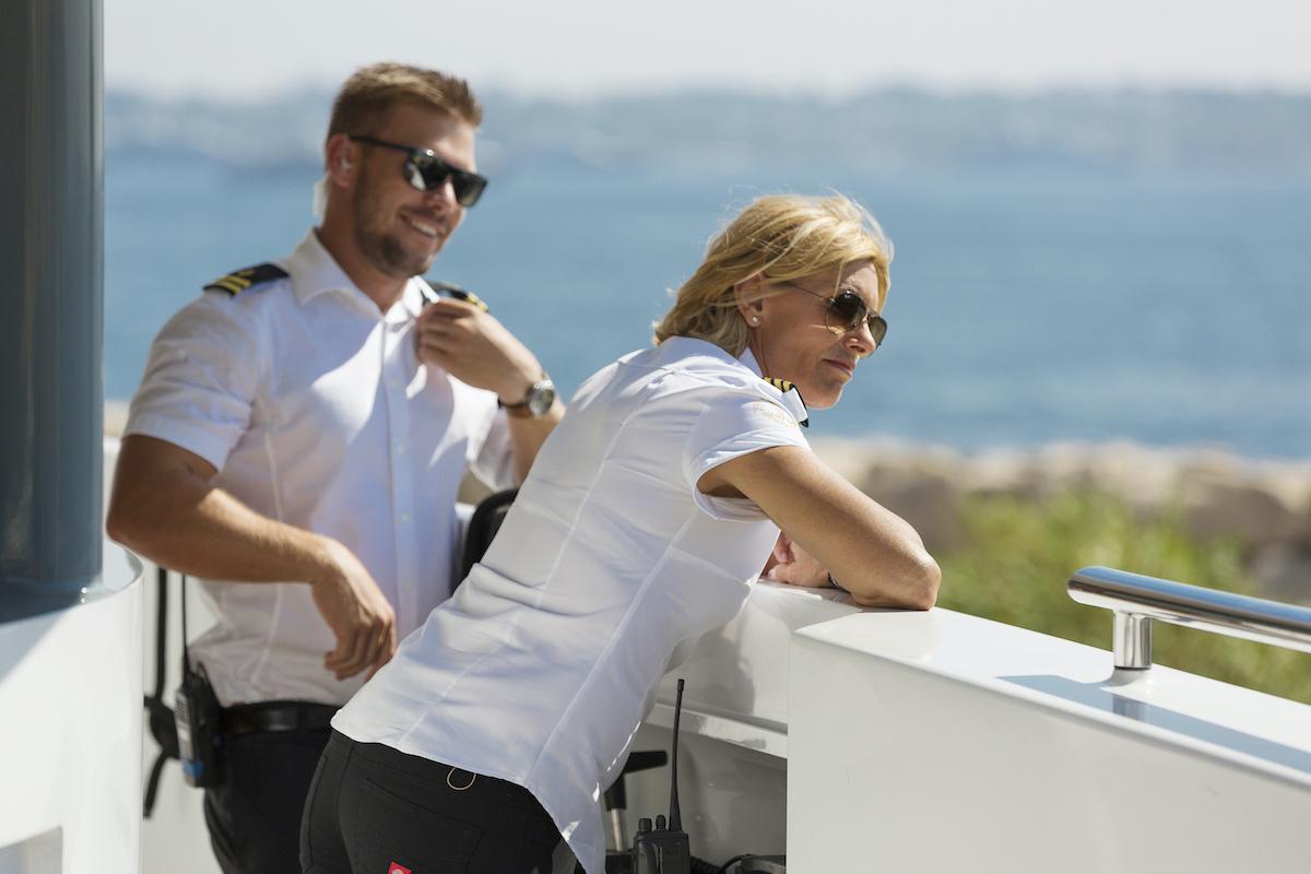 João Franco and Captain Sandy Yawn on a superyacht