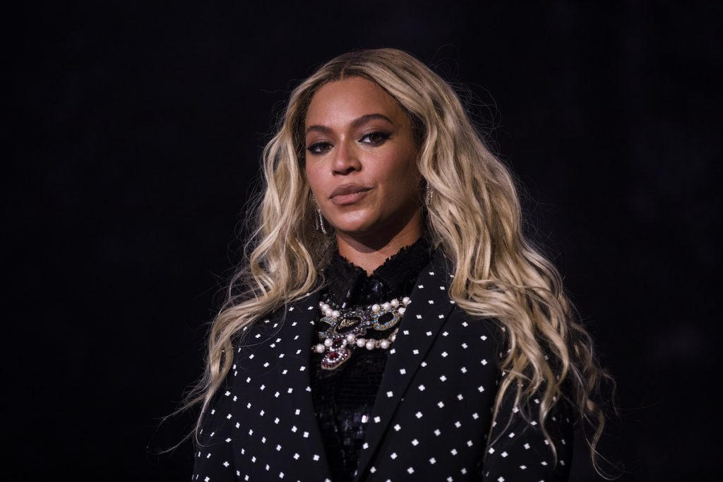 Beyonce performs on stage wearing all Black