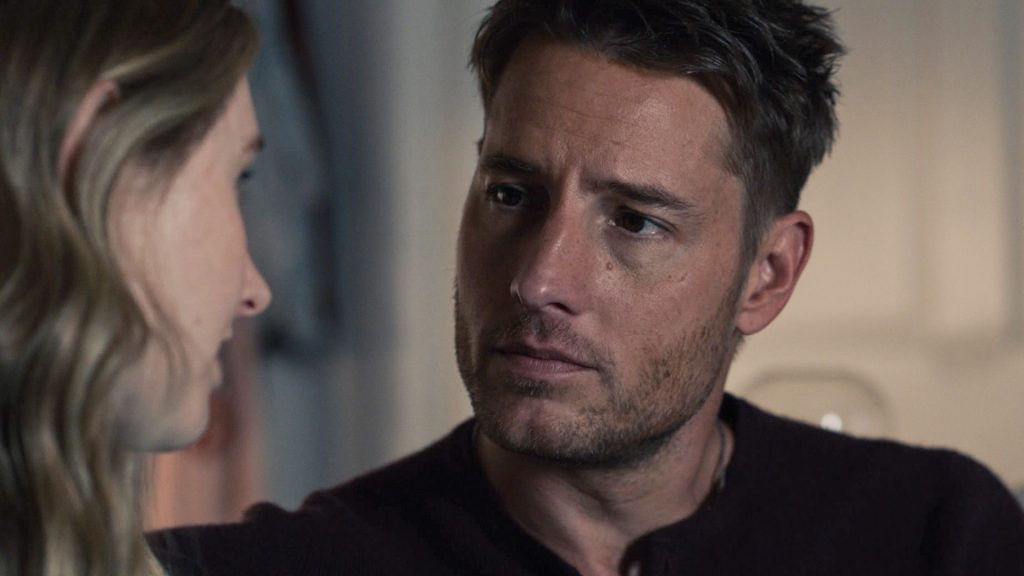 Caitlin Thompson as Madison talking to Justin Hartley as Kevin in 'This Is Us' Season 5 Episode 12