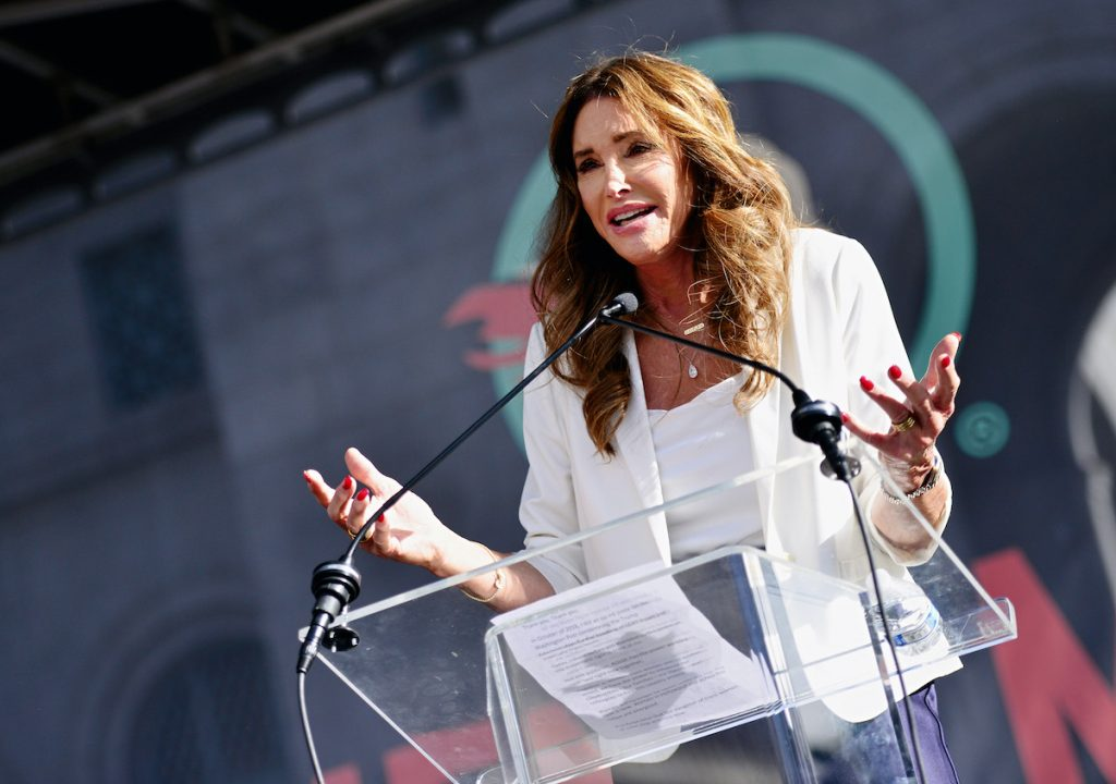 Caitlyn Jenner speaks at a women's march in California in 2020