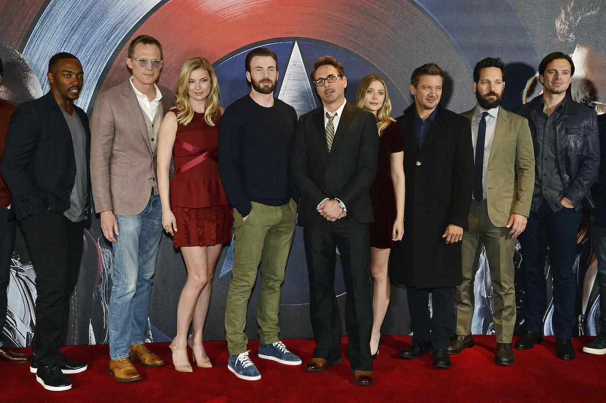'Captain America: Civil War' stars Anthony Mackie, Paul Bettany, Emily Vancamp, Chris Evans, Robert Downey Jr., Elizabeth Olsen, Jeremy Renner, Paul Rudd, and Sebastian Stan attend a photocall in London