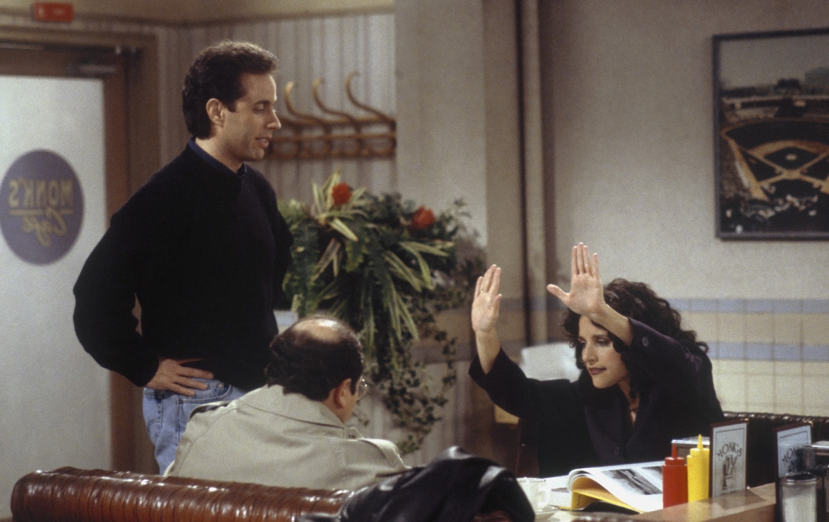 """Seinfeld actors on the set of """"The Bookstore"""""""