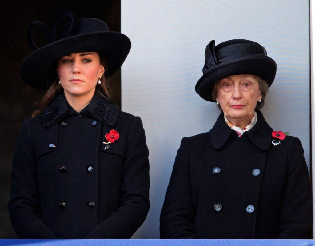 Catherine, Duchess of Cambridge and Lady Susan Hussey (Lady in Waiting to Queen Elizabeth II at the Remembrance Sunday Service
