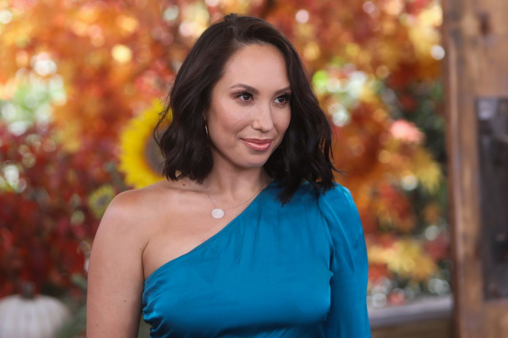 Dancer/TV personality Cheryl Burke smiles and wears a blue dress as she visits Hallmark Channel's 'Home & Family' at Universal Studios Hollywood