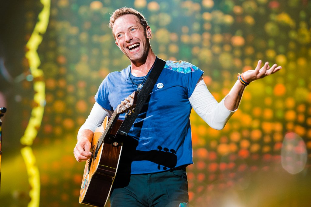 Chris Martin singer member of the band Coldplay performs live on stage