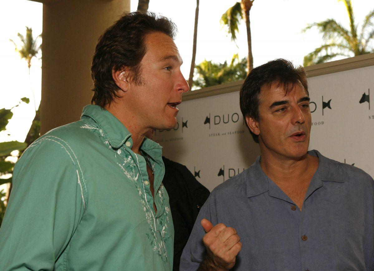John Corbett and Chris Noth chat with a group at the Duo Grand Opening at the Four Seasons Maui