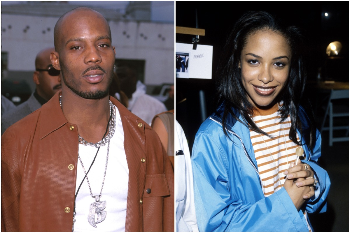 A side-by-side photo of celebrities DMX and Aaliyah