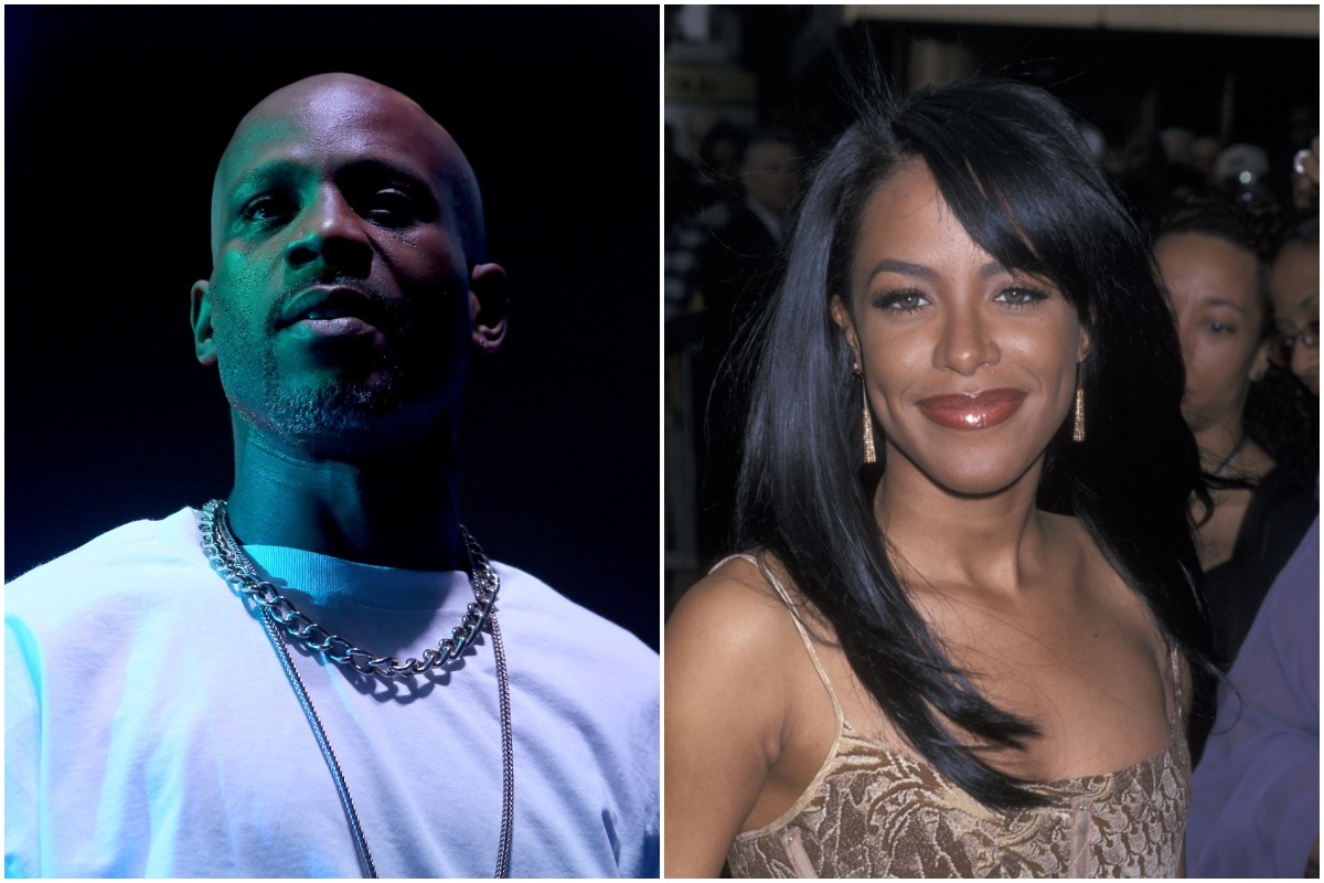 A side-by-side photo of DMX and Aaliyah