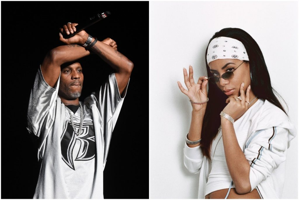 A side-by-side photo of rapper DMX and singer Aaliyah