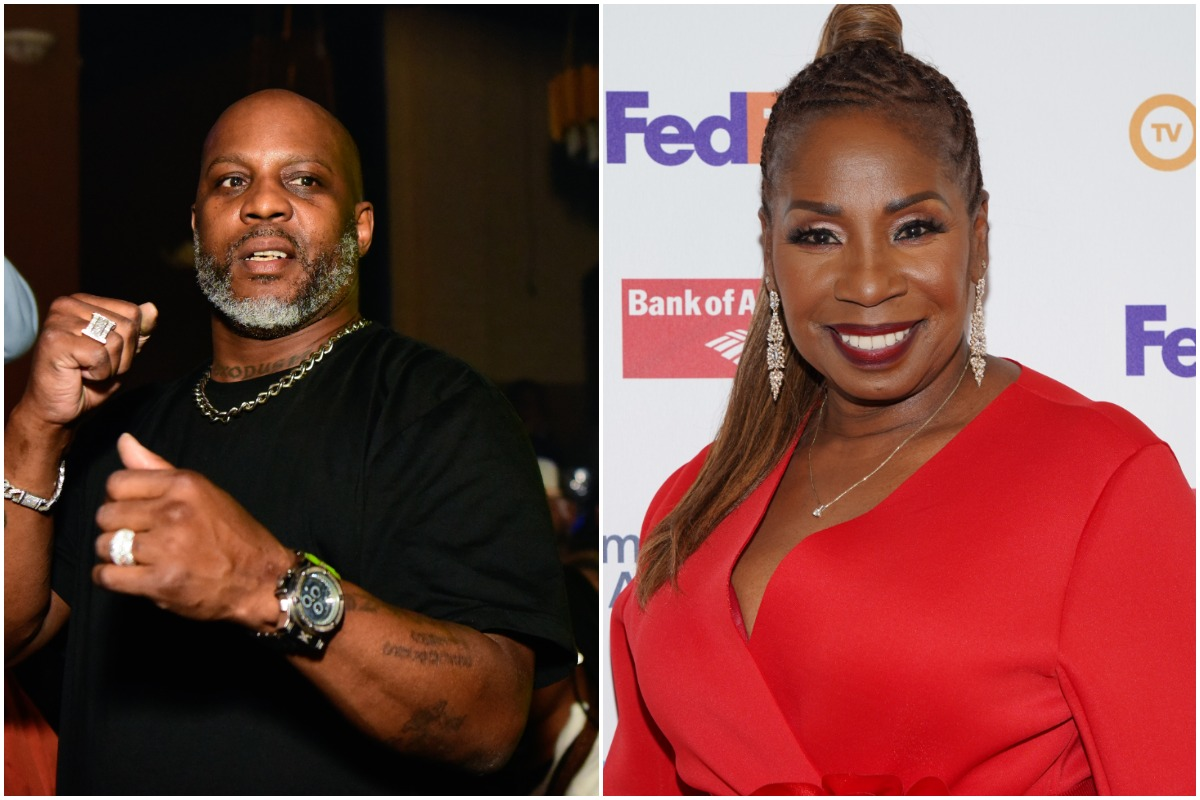 DMX dancing at a club while wearing a black shirt/Iyanla Vanzant smiling while wearing a red dress and red lipstick.