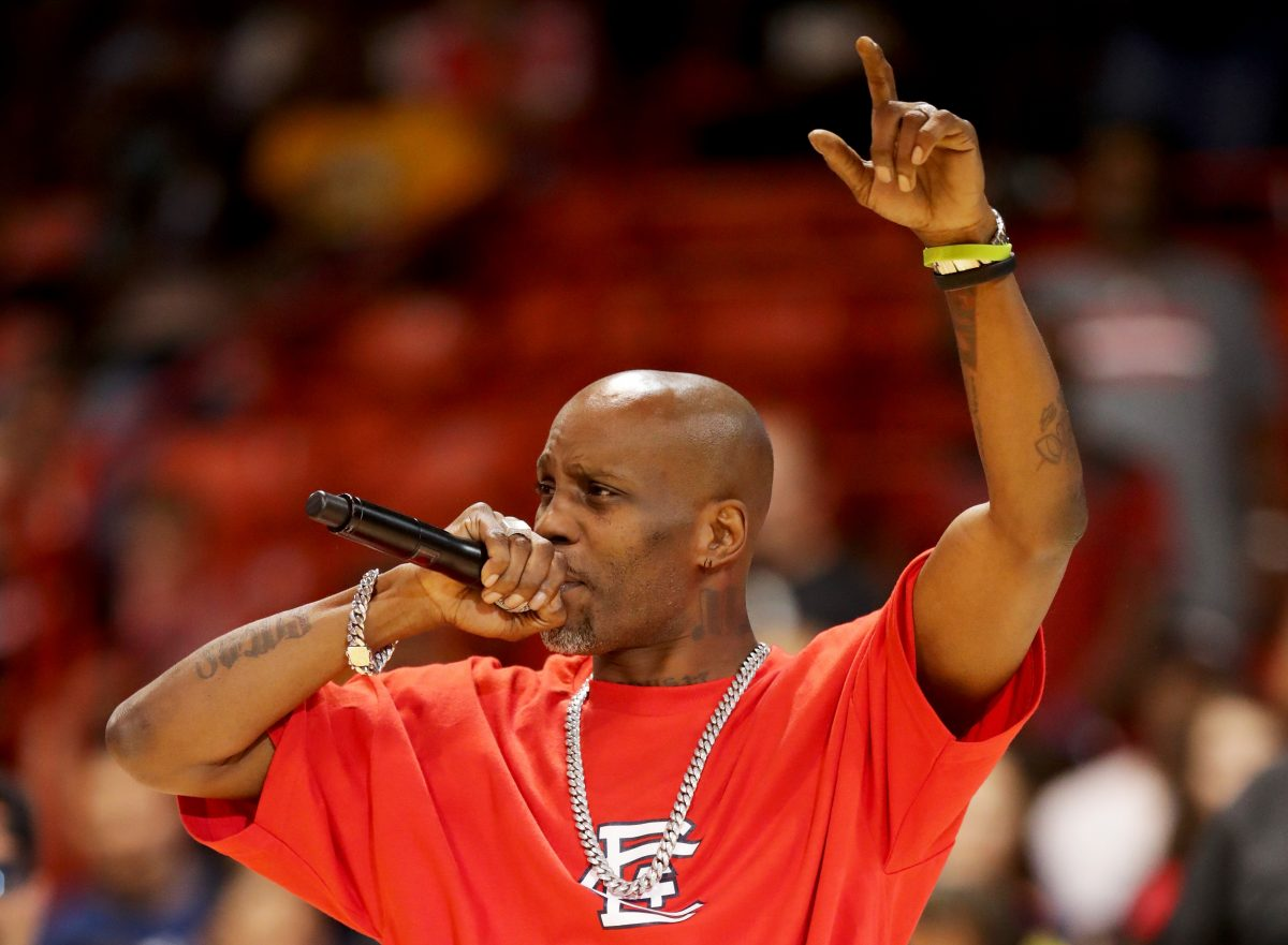 DMX rapping at a basketball game