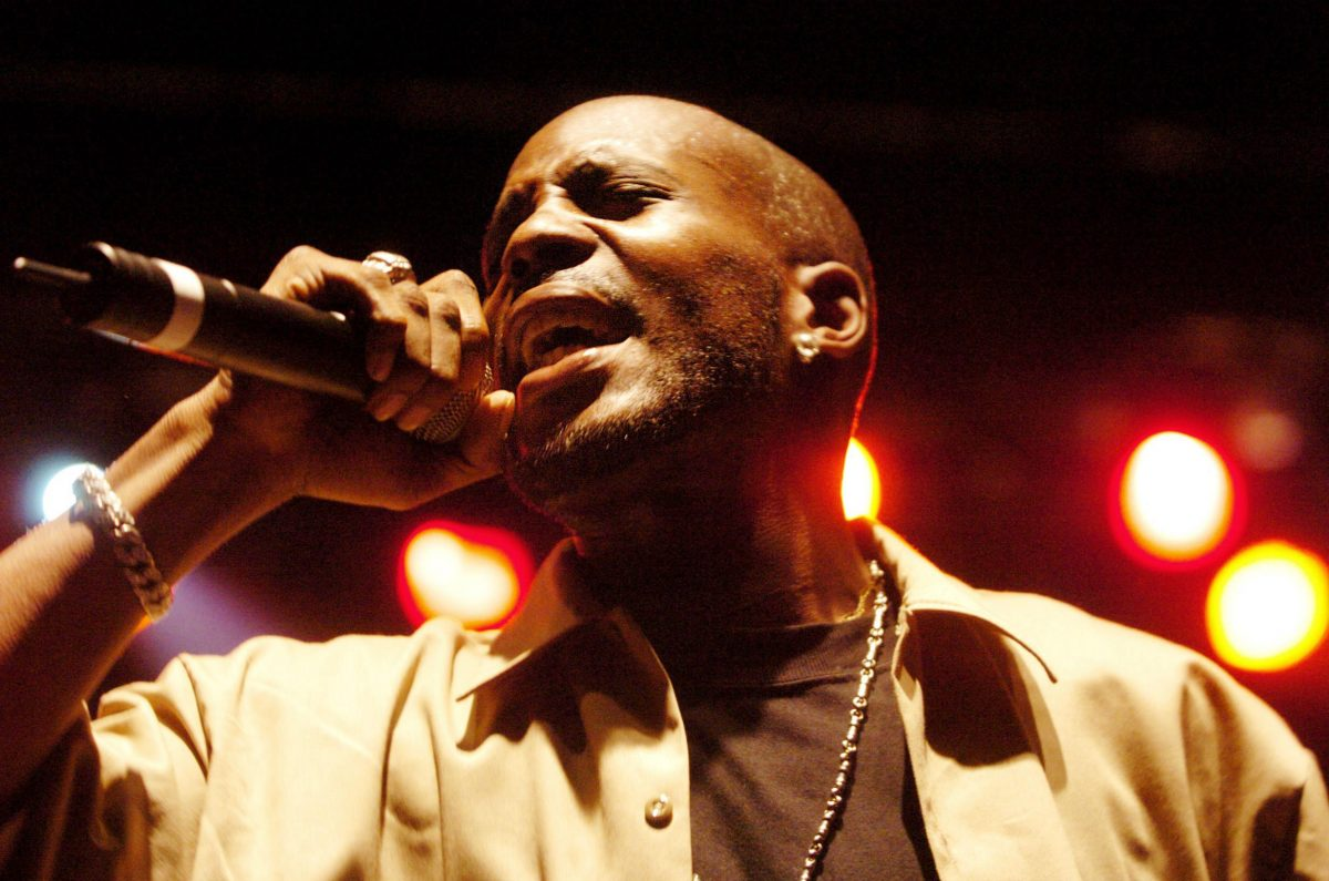 DMX rapping into a microphone