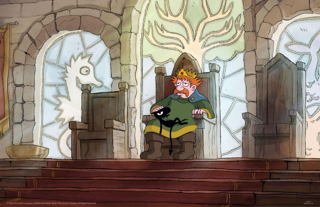 Eric André as Luci and John DiMaggio as King Zøg in 'Disenchantment.'