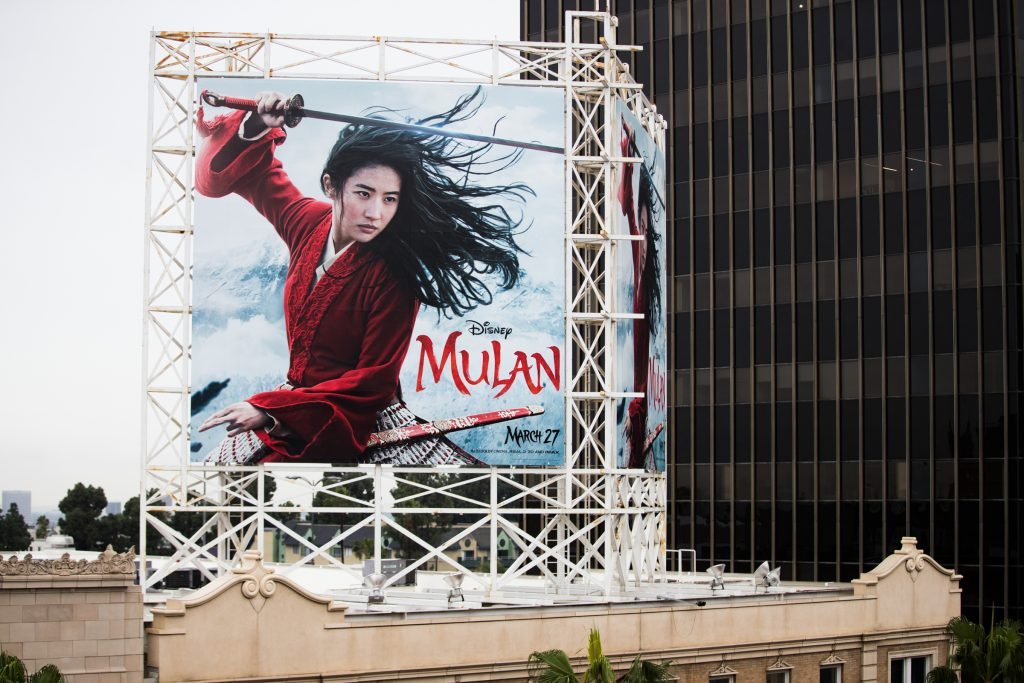 Outdoor ad for Disney's 'Mulan' is seen in Hollywood, California