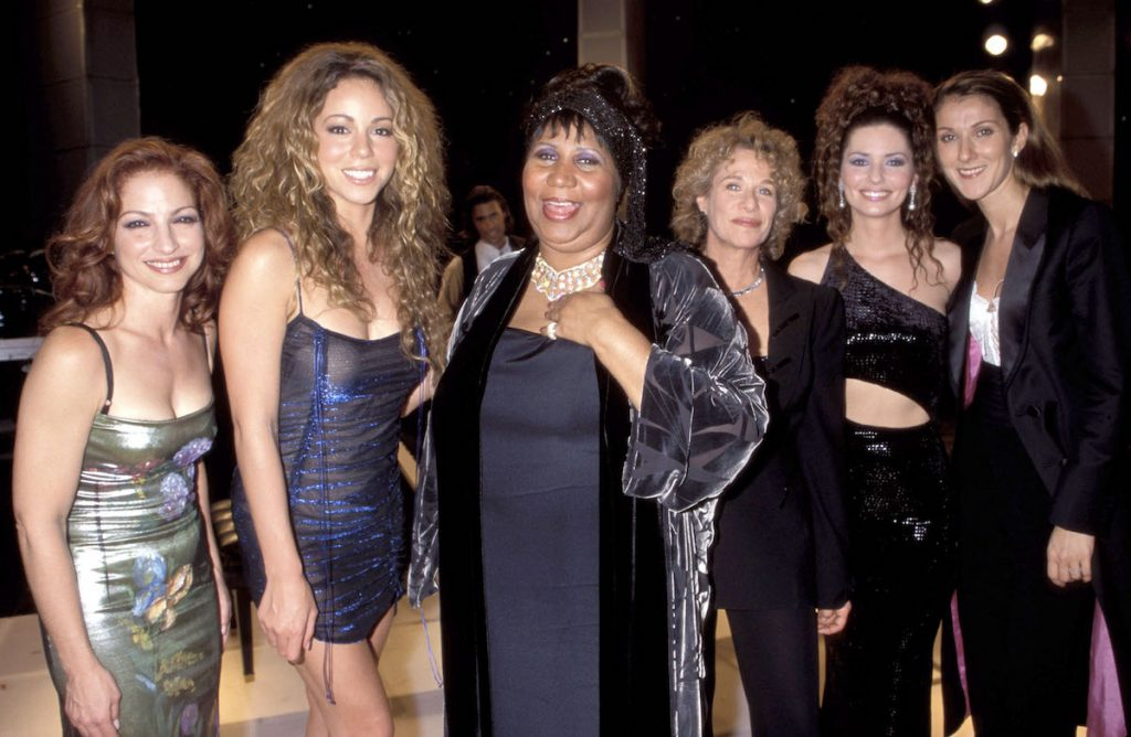(L-R) Gloria Estefan, Mariah Carey, Aretha Franklin, Carole King, Shania Twain and Celine Dion at the Beacon Theatre in New York City, New York | Kevin Mazur/WireImage