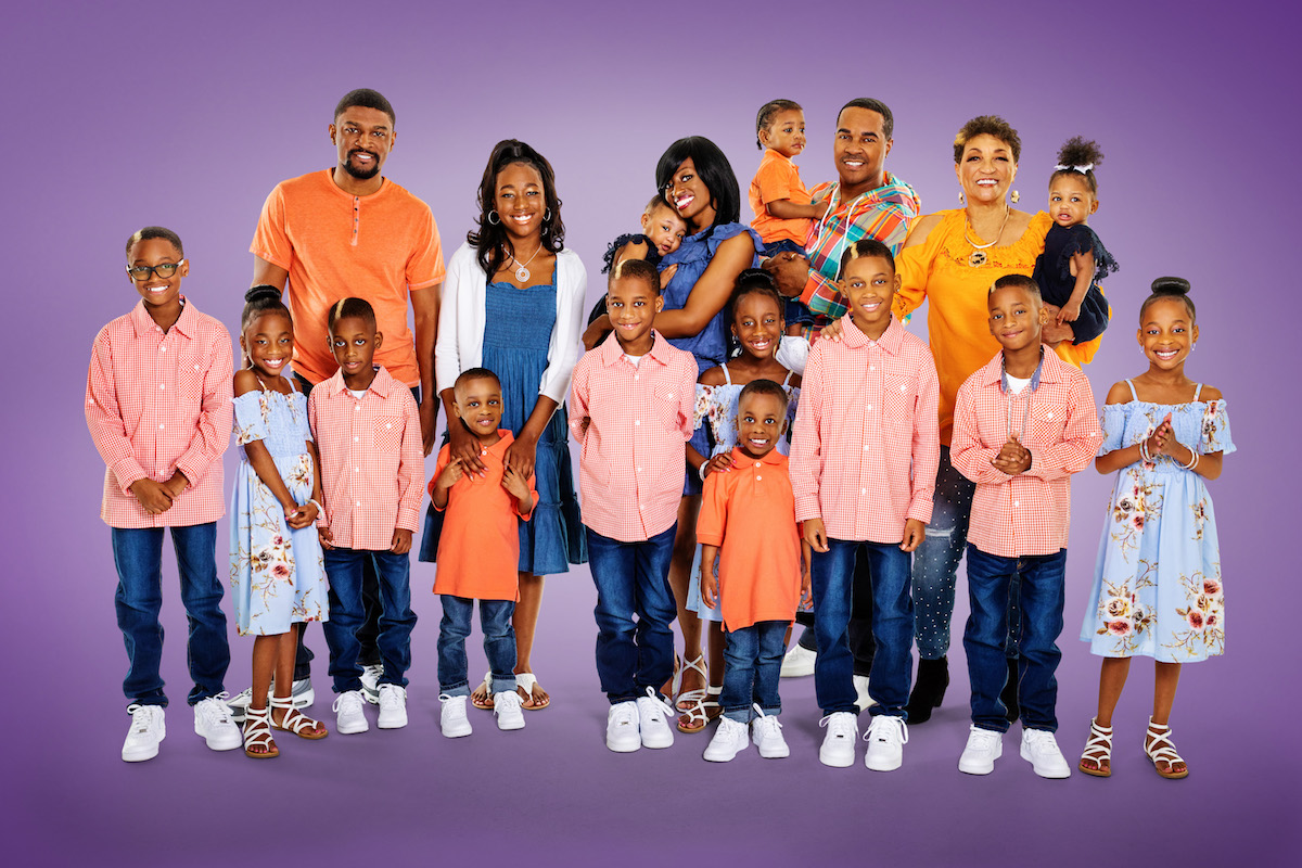 Group photo of the Derrico family from Doubling Down with the Derricos on a purple background