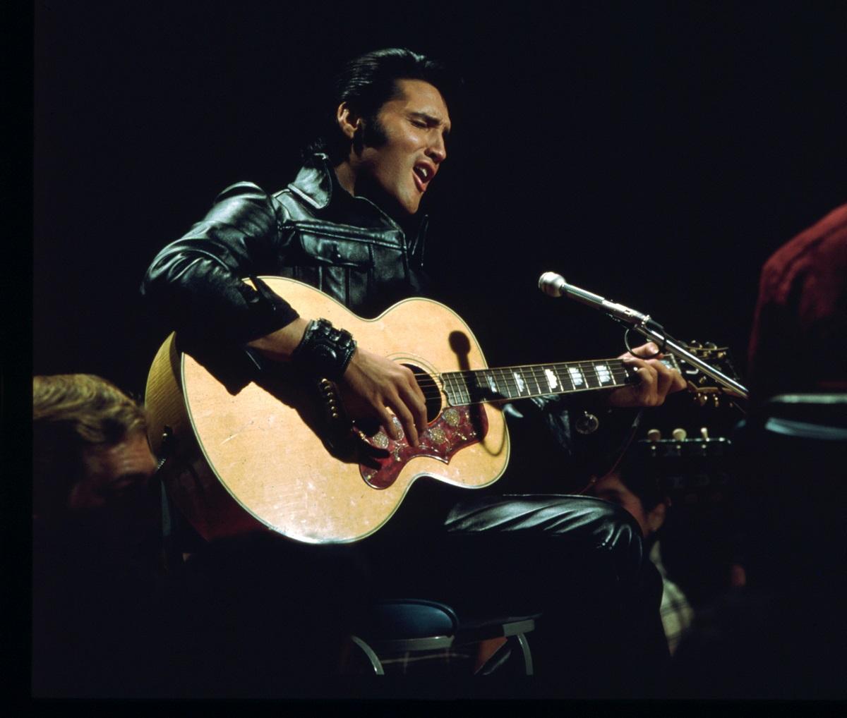 Elvis Presley performing on the Elvis comeback TV special on June 27, 1968 in Burbank, California.