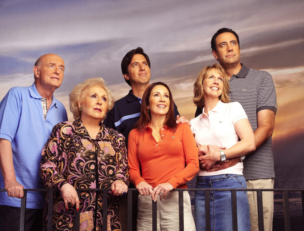 Peter Boyle, Doris Roberts, Ray Romano, Patricia Heaton, Monica Horan and Brad Garrett look off into the distance during a promotional photo shoot for the final season of 'Everybody Loves Raymond'