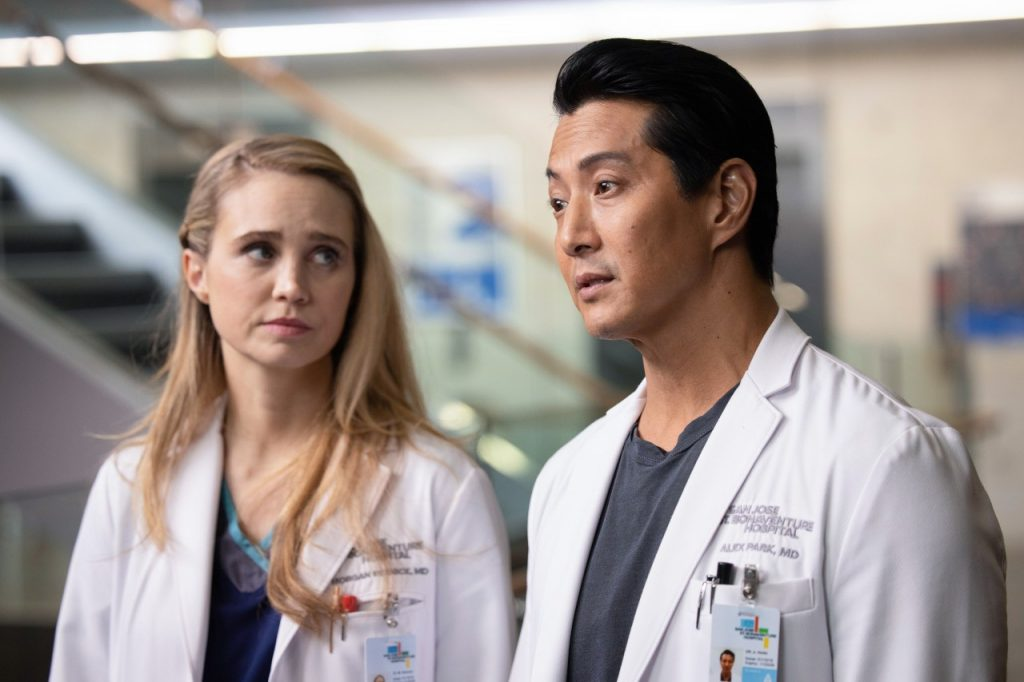 Fiona Gubelmann and Will Yun Lee on 'The Good Doctor' | Jack Rowand via Getty Images