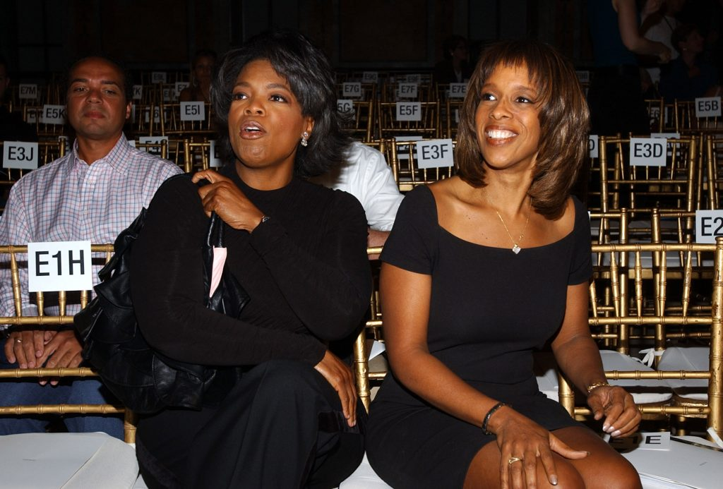 Oprah Winfrey and Gayle King sit side-by-side during Mercedes-Benz Fashion Week, 2003