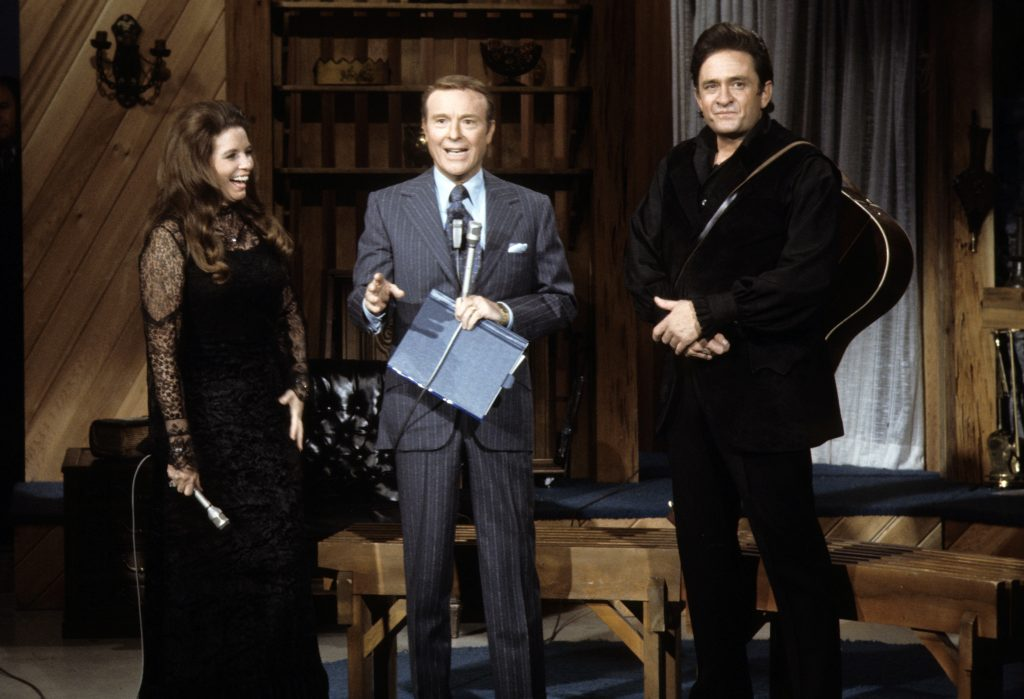 (L to R): 'This Is Your Life' with June Carter Cash, host Ralph Edwards, and Johnny Cash in 1971