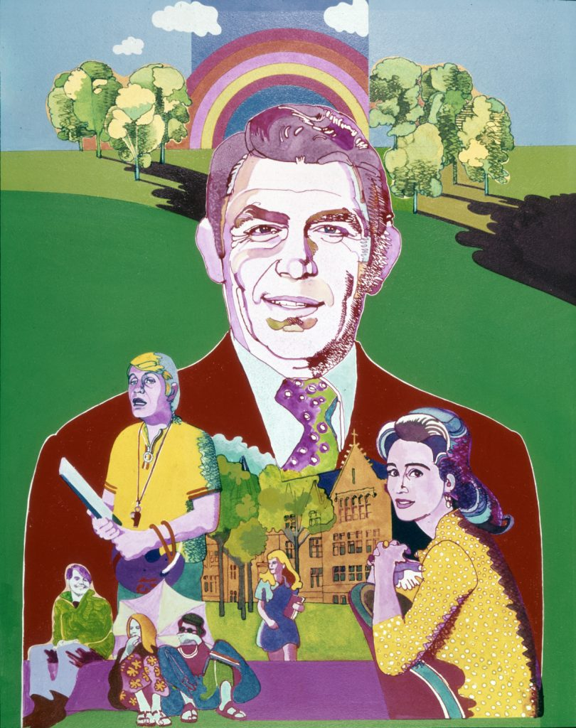 A colorful promotional image for CBS' 'Headmaster,' starring Andy Griffith, 1970