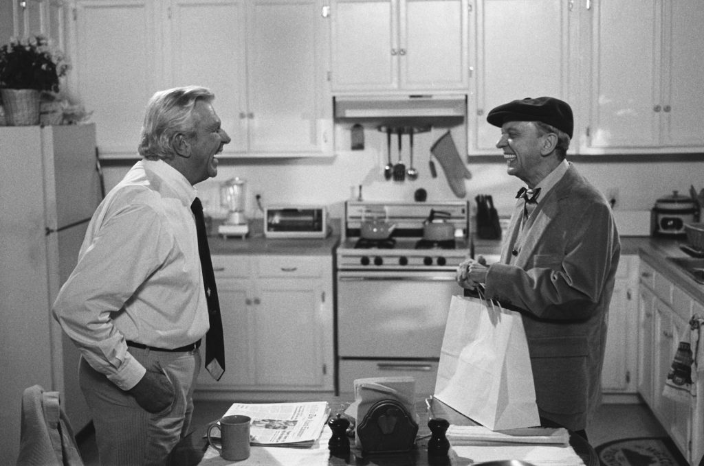 Don Knotts as Les Calhoun and Andy Griffith as attorney Benjamin Matlock in a scene from 'Matlock'