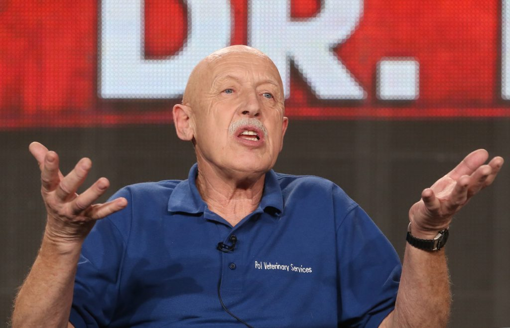 Dr. Jan Pol of Nat Geo Wild's 'The Incredible Dr. Pol' gestures with his hands while speaking , 2015
