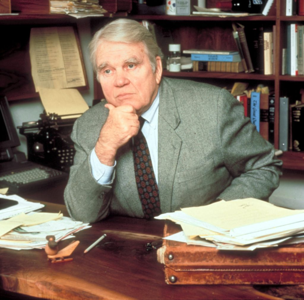 Former '60 Minutes' broadcaster Andy Rooney sits at his desk on the program