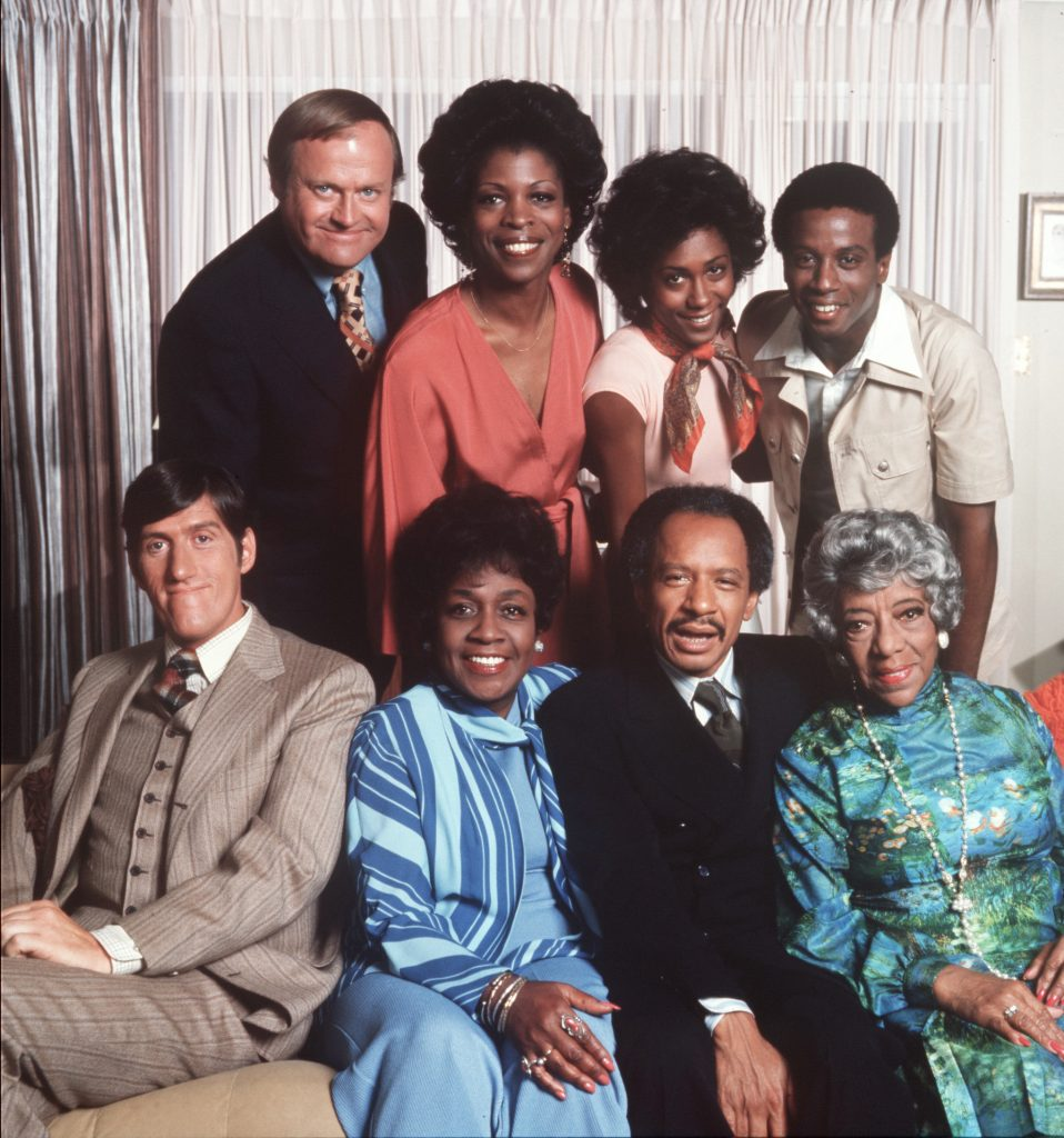 LOS ANGELES - APThe cast of 'The Jeffersons': (clockwise from upper right) Damon Evans as Lionel Jefferson, Zara Cully as Mother Olivia Jefferson, Sherman Hemsley and Isabel Sanford as George and Louise Jefferson, Paul Benedict as Harry Bentley, Franklin Cover and Roxie Roker as Tom and Helen Willis, and, Berlinda Tolbert as Jenny Willis Jefferson, 1975