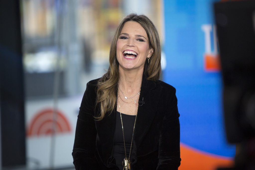 'Today' host Savannah Guthrie on the show's set in a blue dress