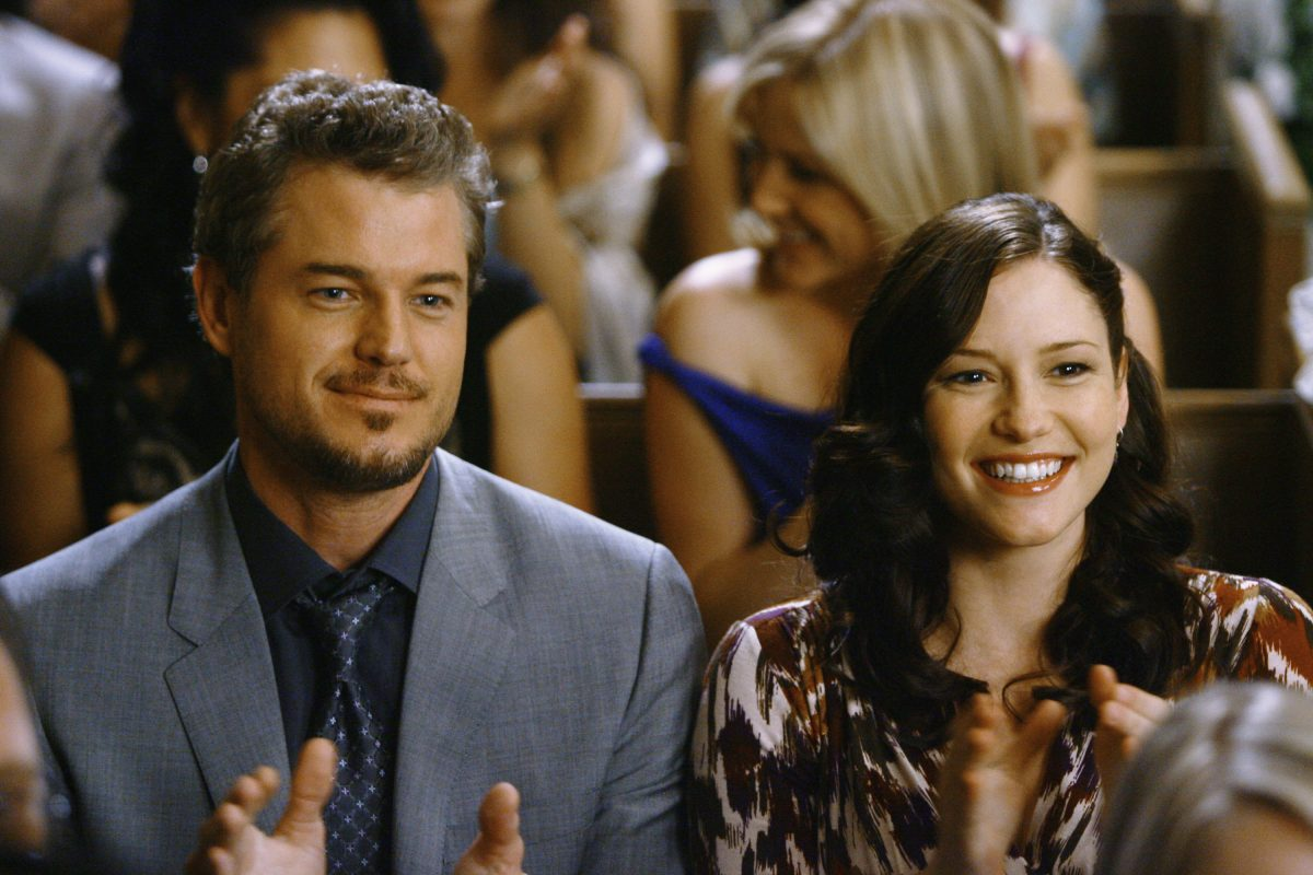 Eric Dane and Chyler Leigh on the set of Grey's Anatomy as Mark and Lexie.