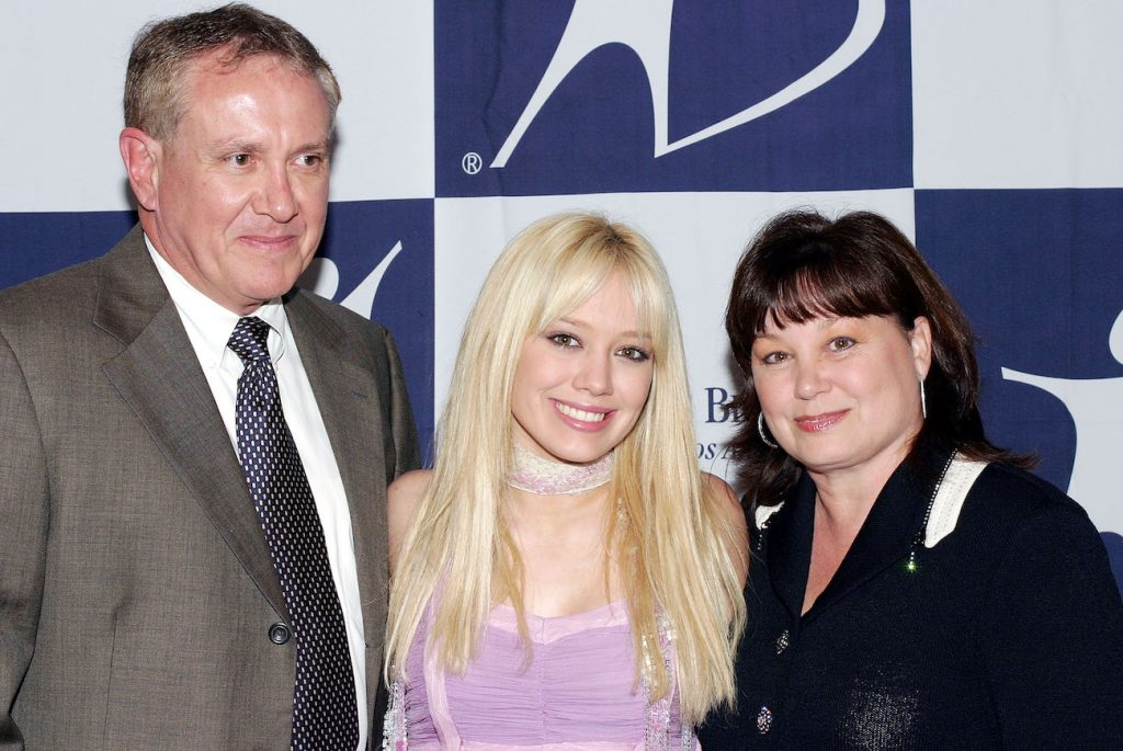 Hilary Duff in 2003 with her parents